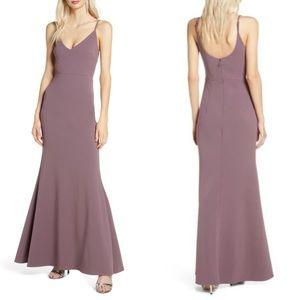 Lulus V-Neck Dusty Purple Trumpet Gown Sz XS